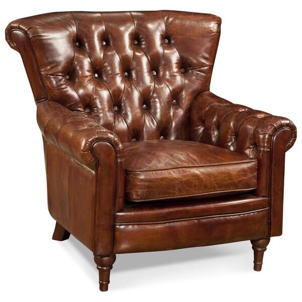 Aurelle Home Brighton Rustic Brown Leather Chair