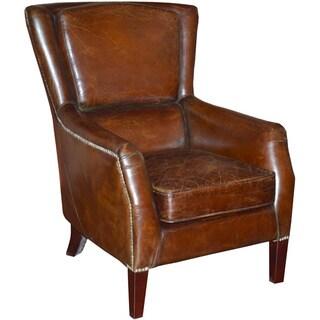 Aurelle Home Marocco Nailhead Brown Leather Chair