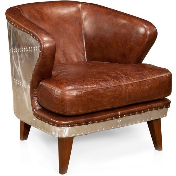 Aurelle Home Jet Fighter Nailhead Trim Brown Leather Club Chair