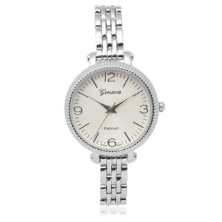 Geneva Platinum Quartz Link Watch