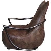 Aurelle Home Pilot Rustic Vintage Brown Leather Accent Chair