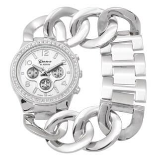 Geneva Platinum Rhinestone Bracelet Watch