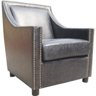 Aurelle Home Distressed Vintage Nailhead Gentlemans Leather Club Chair