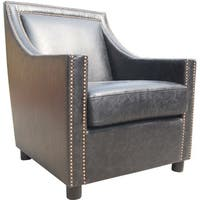 Aurelle Home Distressed Gentlemans Leather Accent Chair