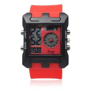 Geneva Platinum Men's Dual Time Silicone Band Watch