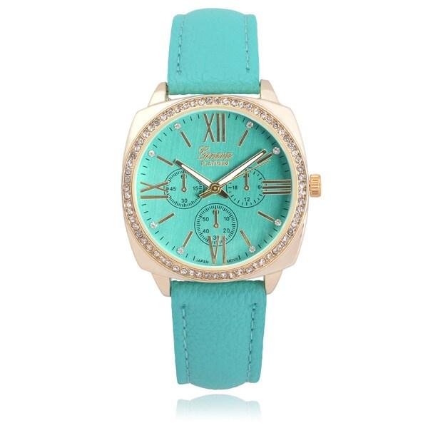Geneva Platinum Rhinestone Chronograph Watch