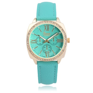 Geneva Platinum Rhinestone Chronograph Watch