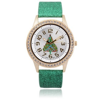 Geneva Platinum Holiday Glitter Band Watch