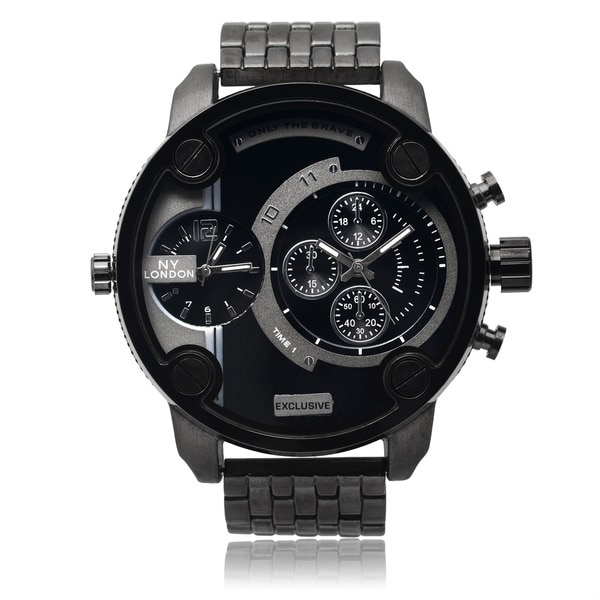 NY London Men's Black Dual Time Zone Dial Link Bracelet Watch