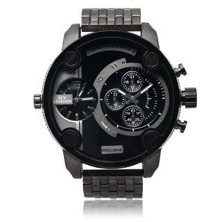 over 50mm watches overstock com the best prices on designer mens ny london men s black dual time zone dial link bracelet watch