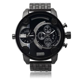 NY London Men's Black Dual Time Zone Dial Link Bracelet Watch|https://ak1.ostkcdn.com/images/products/9531167/P16710613.jpg?impolicy=medium