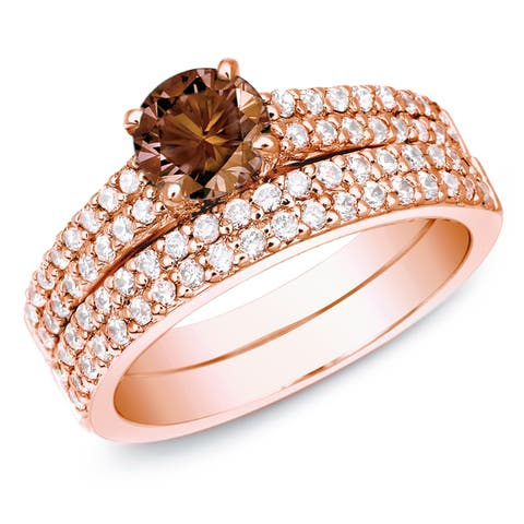 Auriya 14k Rose Gold 1 1/2ctw Double Pave Brown Diamond Engagement Ring Set