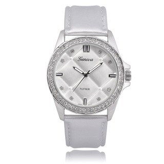 Geneva Platinum Rhinestone Round Face Watch
