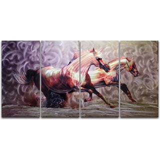 Wild Horses (Brown)' 4-piece Oversized Metal Wall Art