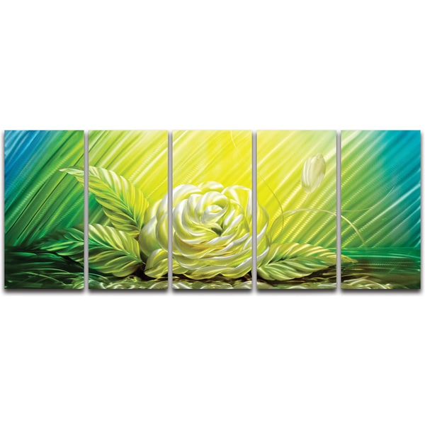 Yellow Rose\' 5-piece Extra-large Metal Wall Art - Free Shipping ...