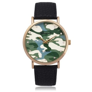 Geneva Platinum Women's Camo Rhinestone Round Face Watch