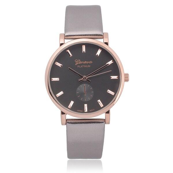 Geneva Platinum Metallic Round Face Watch