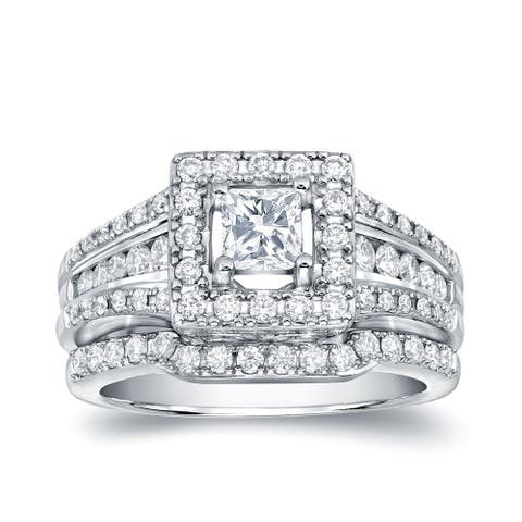 Auriya 1 3/8ctw Princess-cut Diamond Halo Engagement Ring Set 14k Gold