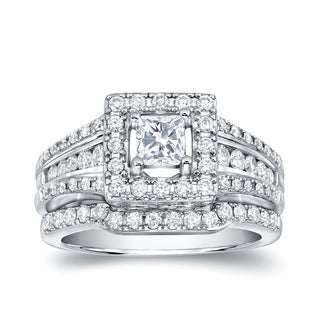 Auriya 14k White Gold 1 3/8ct TDW Certified Princess-Cut Diamond Bridal Ring Set