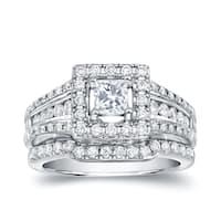 Auriya 14k White Gold 1 3/8ct TDW Certified Princess-Cut Diamond Bridal Ring Set