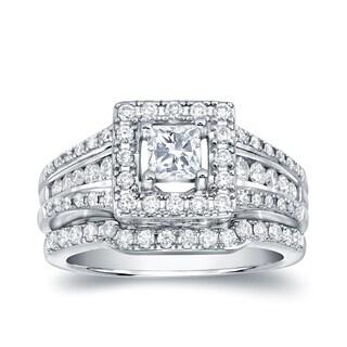 14k White Gold 1 3/8ct TDW Princess Cut Diamond Engagement Ring Set by Auriya