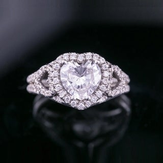 Link to Auriya 18k Gold 1 7/8cttw Heart Shape Halo Diamond Engagement Ring Certified Similar Items in Wedding Rings