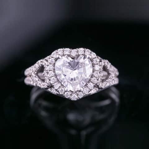 Auriya 18k White Gold 1 7/8cttw Heart-shaped Halo Diamond Engagement Ring