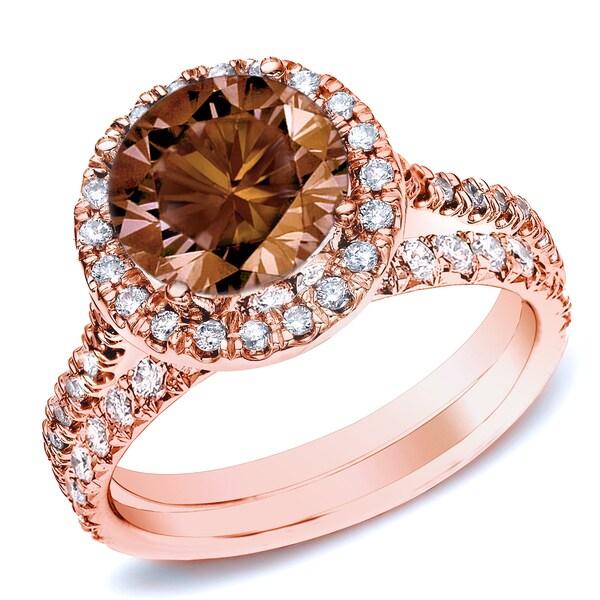 Auriya 14k Rose Gold 1ct TDW Brown Round Diamond Halo Bridal Ring Set