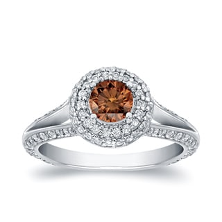 Auriya 14k White Gold 1 1/2ct TDW Brown Halo Diamond Engagement Ring (SI1-SI2)