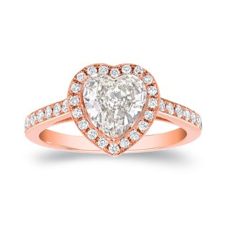 Auriya 18k Rose Gold 1 4/5ct TDW Certified Heart Diamond Engagement Ring (I, VS2)