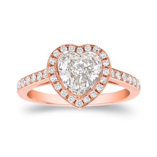 Auriya 18k Rose Gold 1 4/5ct TDW Certified Heart Diamond Engagement Ring