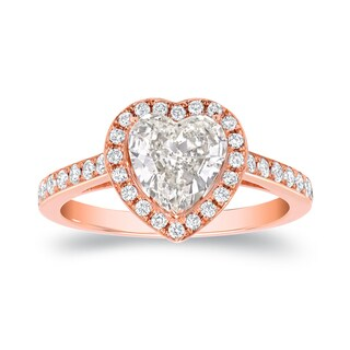 18k Rose Gold 1 4/5ct TDW Certified Heart-Shaped Diamond Halo Engagement Ring by Auriya