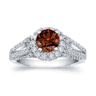 Auriya 14k White Gold 1 1/4ct TDW Brown Halo Diamond Engagement Ring (SI1-SI2)