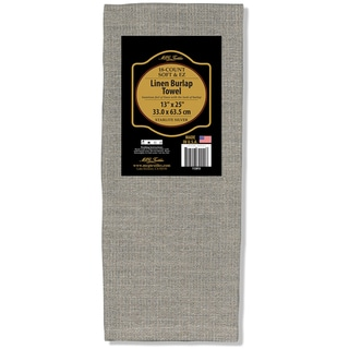 "Soft & EZ Linen Burlap Towel 13""X25""-Natural W/Silver Metallic 18 Count"