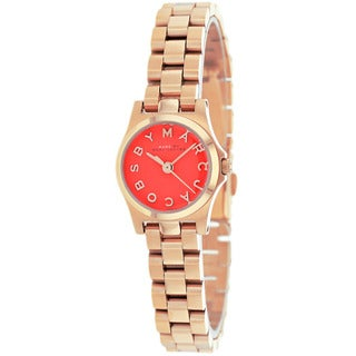 Marc Jacobs Women's Henry Dinky Red Dial Rosetone Watch