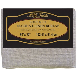 "Soft & EZ Linen Burlap 36""X60""-Natural W/Silver Metallic 18 Count"