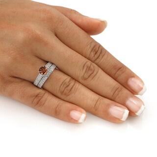 Auriya 14k Gold 1 1/2ct TDW Brown Round Diamond Bridal Ring Set (SI1-SI2)