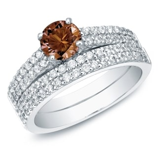 Auriya 14k Gold 1 1/2ct TDW Brown Round Diamond Bridal Ring Set (SI1-SI2)