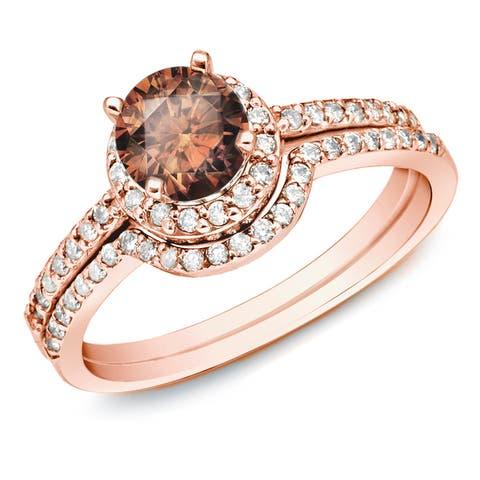 Auriya 14k Rose Gold 1ctw Brown Diamond Halo Engagement Ring Set