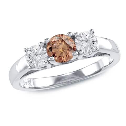 Auriya 14k Gold 1ctw 3-Stone Brown Diamond Engagement Ring