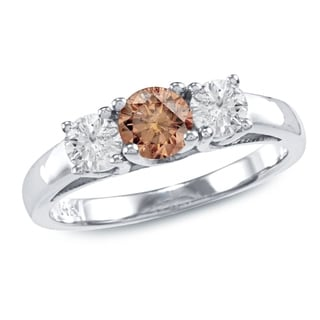 Auriya 14k Gold 1ct TDW Brown Round Diamond 3-stone Ring (SI1-SI2)