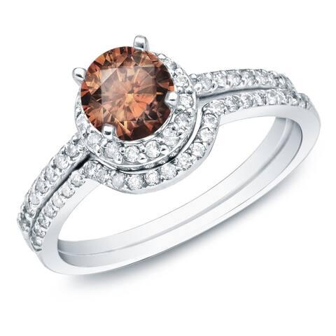 Auriya 14k Gold 1ctw Brown Diamond Halo Engagement Ring Set