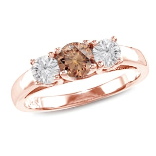 Auriya 14k Rose Gold 1ct TDW Brown Round Diamond 3-stone Ring (SI1-SI2)
