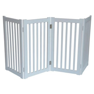 Free Standing 72 x 32-inch 4-Panel Wooden Pet Gate (Option: White)