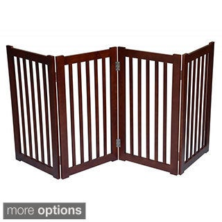 Free Standing 72 x 32-inch 4-Panel Wooden Pet Gate