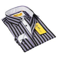 BriO Milano Men's Black/Purple/White Striped Floral Collar Button Down Fashion Shirt