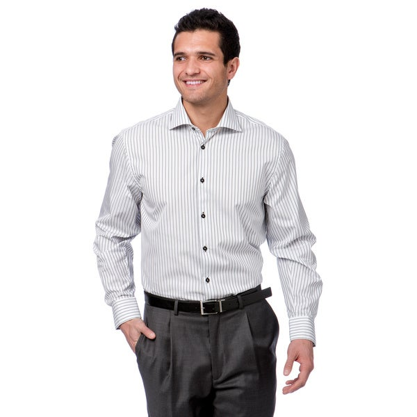 Brio milano men 39 s white grey striped floral collar button for White button down dress shirt