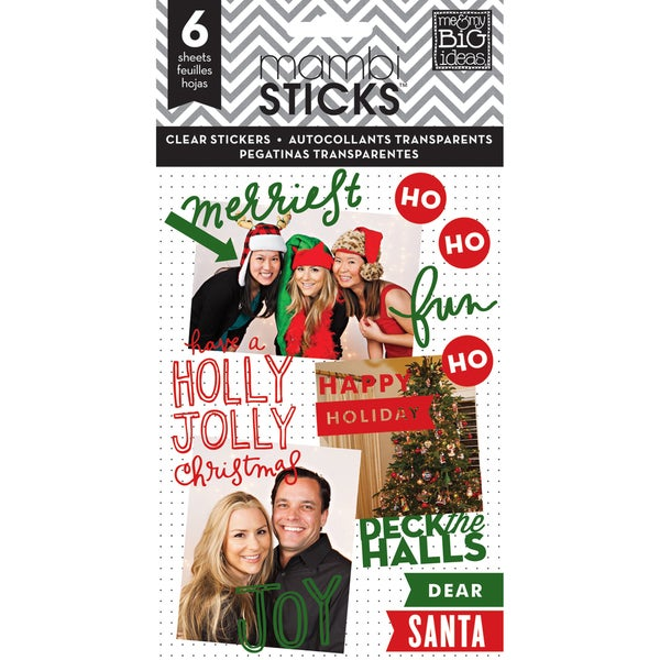 Me & My Big Ideas Pocket Pages Clear Stickers 6 Sheets/Pkg-Holly Jolly Christmas
