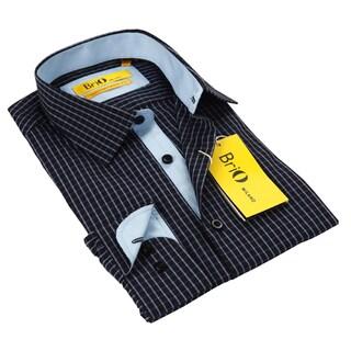 BriO Milano Men's Blue Button Down Dress Shirt
