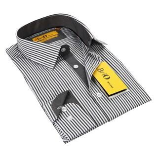 BriO Milano Men's Grey/ White Button Down Dress Shirt